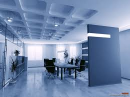 modern minimalist desk blue shade interior office design with unique ceiling part of