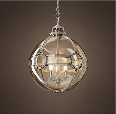 Restoration Hardware Light Fixtures by 19th C Victorian Globe Pendant Polished Nickel 20