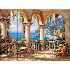 the tile mural store terrace arch i 24 in x 18 in ceramic mural ceramic mural wall tile