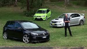 green subaru hatchback 3 car comparison ford focus rs vw golf r u0026 subaru wrx sti youtube