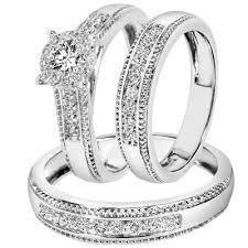 Wedding Ring Trio Sets by Wedding Trio Rings Mindyourbiz Us