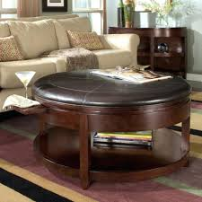 Leather Ottoman With Storage And Tray by Coffee Tables Mesmerizing Coffee Table Large Round Leather