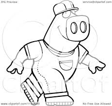 cartoon clipart of a black and white builder pig walking vector