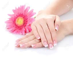 woman hands with french manicure and flower isolated on white