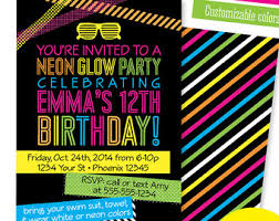 hashtag neon party birthday party invitation birthday neon party invitations kids birthday invitation sweet