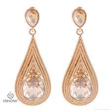 wedding earrings drop 2017 chagne color new water drop wedding earrings women