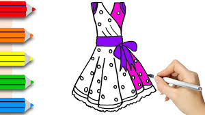 drawing cute dress for coloring pages u0026 drawing for children