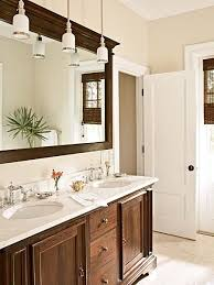 bathroom instead of typical vanity lights above the mirror using