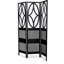 lyke home black white wood art deco tri fold room divider free