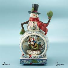 disney traditions snowman with mickey mouse musical figurine by