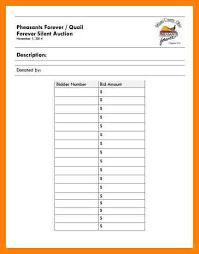Bid Sheet Template Fundraising Sheet Template Cv01 Billybullock Us