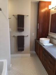 Tile Floor Bathroom Ideas Only Unused Wall In The Bathroom So Stacked The Towel Bars Matte