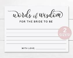bridal shower words of wisdom cards words of wisdom etsy