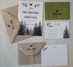 woodland wedding invitation on recycled paper paperfish designs