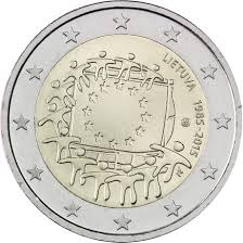 Flag Of Lithuania Picture Lithuania 2 Euro 2015 30th Anniversary Of The Eu Flag Eur30416