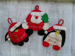 santa robin and penguin felt christmas ornaments with pouches