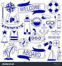 doodle hand drawn nautical decor set stock vector 281014238