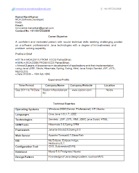 Mba Finance Resume Sample by Java Resume Sample Template Examples