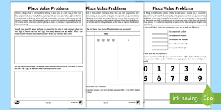 year 2 place value problem solving homework activity sheet