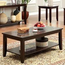 transitional style coffee table townsend transitional style dark cherry finish mosaic insert 3 piece