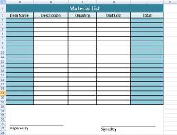 Excel List Templates Get Material List Template In Excel Microsoft Excel Templates
