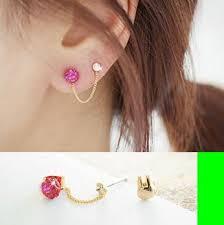 two earrings bunny two tassel asymmetric earrings set pink