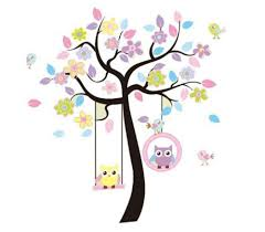 Nursery Tree Stickers For Walls Removable Swing Owl Birds Colorful Scroll Tree Wall Art Decal