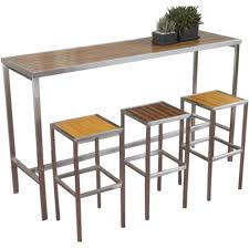 High Bar Table Set Hayman Outdoor High Bar Table Stainless Steel And Teak Wood