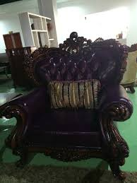 Purple Leather Sofa Sets High End Italian Style Two Side Carving Royal Purple Leather Sofa