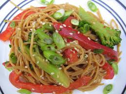 sesame peanut noodle salad seasoned to taste