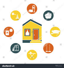 Upholstery Dry Cleaner House Cleaning Vector Ironing Dish Wash Stock Vector 210582151