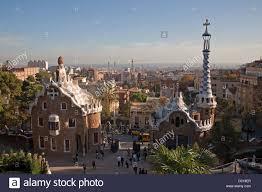 barcelona city view barcelona spain city view with the park güell stock photo