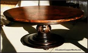 Wood Table Base by Round Copper Top Dining Table Wood Pedestal Base Hand Carved