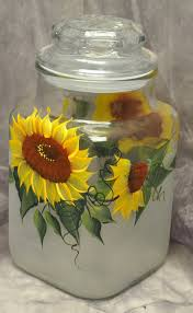 sunflower kitchen canisters painted sunflowers kitchen canister by thewishingwellstudio