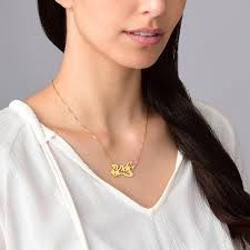 hebrew name necklace hebrew name necklace with side heart gold plated