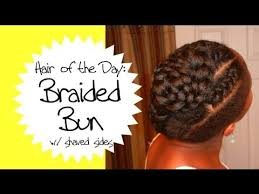 braids with bald hair at the bavk braided updo with shaved sides on natural hair hotd glamazini