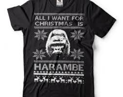 Christmas Sweater Meme - harambe t shirt funny ugly christmas sweater t shirt harambe