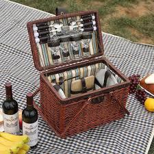 vintage picnic basket vintage wicker picnic basket set for 4 persons cesta picnic