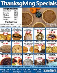 thanksgiving specials sanremo bakery