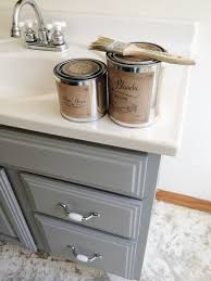 painting bathroom cabinets with chalk paint painted bathroom vanity michigan house update gray chalk paint