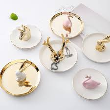 porcelain rabbit ring holder images Decorative porcelain plate flamingos ring plate rings holder jpg