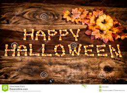 candy corn happy halloween with decor royalty free stock photo