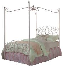 standard furniture princess canopy bed in pink metal traditional