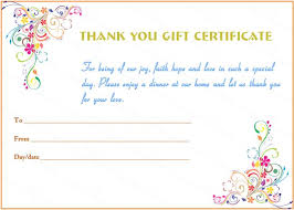 dinner and a gift card special day thank you gift certificate template beautiful