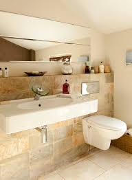 Floating Sink Shelf by False Wall Shelf And Wall Hung Sink And Loo With Mirror Wall