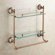 Ceramic Bathroom Shelves European Antique Ceramic Bathroom Glass Shelf Luxury Bronze Wall