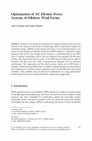 optimization of ac electric power systems of offshore wind farms