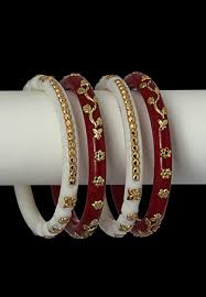 shakha pola bangles white and golden embedded shakha and pola blings beauty