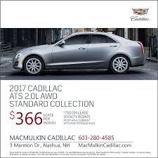 cadillac ats lease special macmulkin cadillac is a nashua cadillac dealer and a car and
