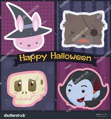 set cute characters halloween monstertrick treat stock vector